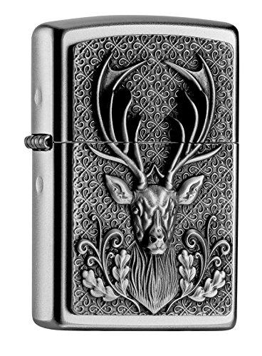 Zippo Deer Emblem - Satin Finish Feuerzeug, Chrom, silber, 5.8 x 3.8 x 2 cm