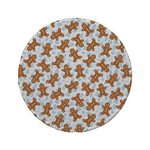 Rutschfreies Gummi-rundes Mauspad Lebkuchenmann traditionelle Weihnachtsikonen-Keks-Muster Festliche Fliesen dekorativ helles Karamellblau-Weiß 7,87 'x 7,87' x 3 mm