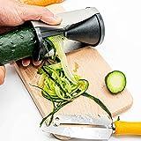 Cortador de verdura en espiral I Rallador de calabacín y zanahoria. Incluye tabla de madera de haya de 27x15 cm + cuchillo pelador multifuncional de acero inoxidable.