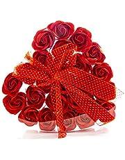 Pétalos de baño con aroma a rosa roja en caja de regalo con forma de corazón, para sus mujeres, regalo romántico de San Valentín, día de cumpleaños, madre, esposa, novia