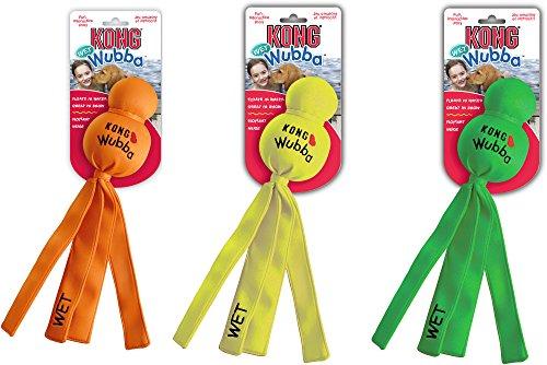 Kong Wet Wubba hondenspeelgoed, drijvend, X-Large, Verschillende kleuren: oranje, geel, groen