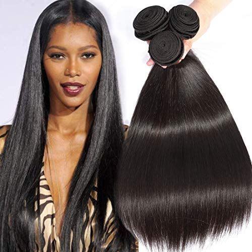 BLACKMOON HAIR(TM) 20 22 24 Inch Brazilian Unprocessed Virgin Remy Human Hair Extension Weave 3 Bundles Silky Straight Unprocessed Natural Color 95-100g/PC