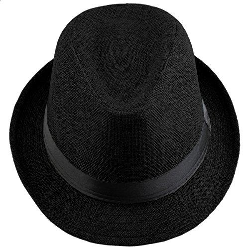 Shanxing Fedora Hut Herren Trilbyhut Panamahut Sonnenhut Hüte Jazz Kappe, 011-Schwarz, one size