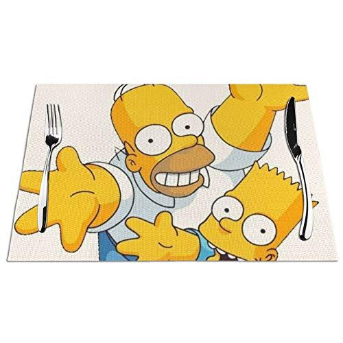 Simpsons - Manteles individuales de PVC lavables y resistentes a las manchas, 4 unidades