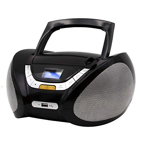 Lauson Lecteur CD   Radio Portable   USB   Radio Stéréo CD Lecteur MP3 pour Enfants   Chaîne stéréo   Prise Casque   Aux in - Écran LCD - Batterie et Alimentation électrique   CP445 (Noir)