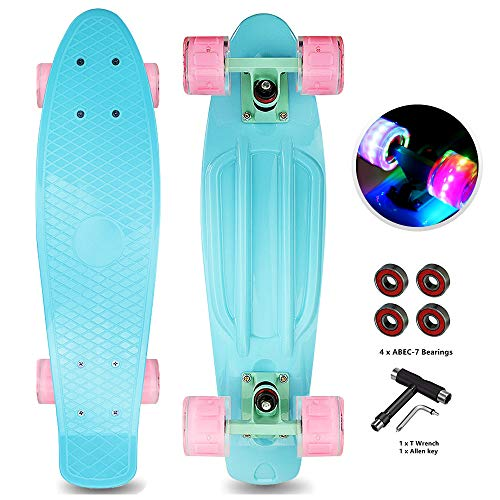 Jaoul Cruiser Skateboard for Beginners, Complete Skate Board 22 Inch for Kids 6-12, Girls Mini Skateboard with LED Light Up Wheels