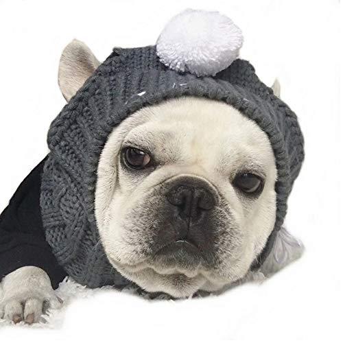 Stock Show Winter Dog Warm Hat Christmas Pet Dog Cute Fashion Woolen Hat with White Pom-pom Ball Pet Headwear Headdress Costume Accessory for Medium Large Dogs French Bulldog, Grey