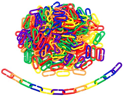 Hyamass 200pcs Rainbow Link C-Clips Hooks Chain Links C-Links Children's Learning Toy Small Pet Rat Parrot Bird Toy