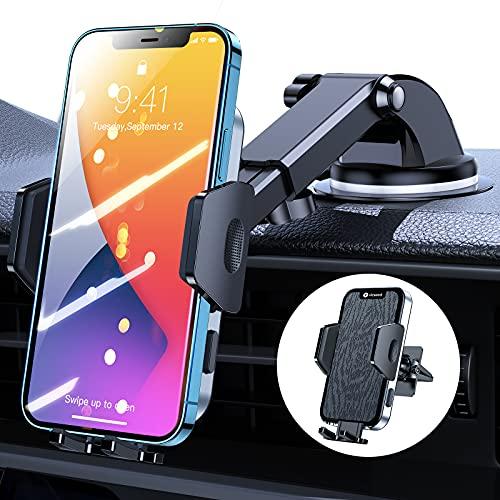VICSEED KFZ Handyhalterung Auto Lüftung Saugnapf, [Hält Stabil] 3 in 1 Universal 360 Grad Drehung Autohalterung Handyhalter Zubehör für Alle Smartphones iPhone 12 Samsung S21 Huawei- Vibrationsfrei