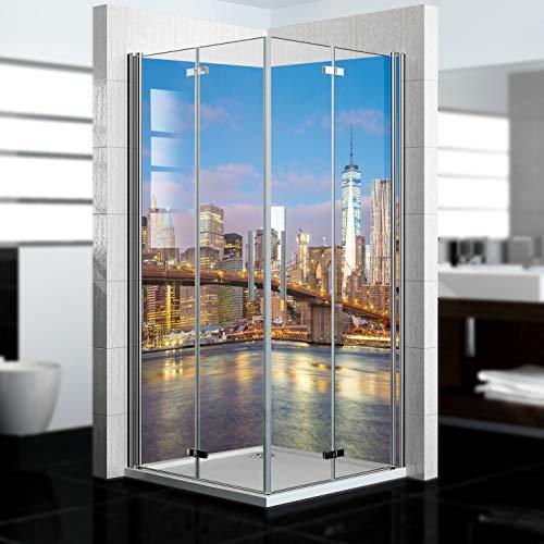 dedeco Alu Eck-Duschrückwand mit New York Motiv - 2 x 90x200 cm - Perfekt als Badrückwand zum Fliesenersatz, passend für viele Bäder als Dekorwand aus hochwertigem Aluminium - Made in Germany