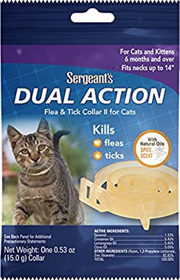 Sergeant's PET Products 3287 1 Count Dual Action Flea & Tick Collar for Cats