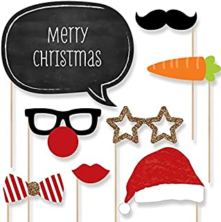 Big Dot of Happiness Christmas Party - Photo Booth Props Kit - 20 Count