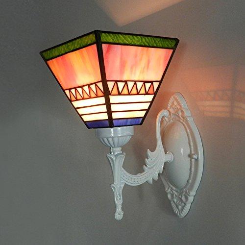 Appliques Murales Lampe Murale Salle De Bains Méditerranéenne Lampe Murale Chevet Chambre à Coucher Miroir Restaurant étude Corridor Clubhouse Simple Creative Fer Forgé En Verre à Simple Tête Lampe Murale. 26 * 23 Cm