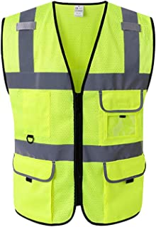 Extaum High Visibility Reflective Safety Vest Reflective Vest Multi Pockets Workwear Safety Waistcoat