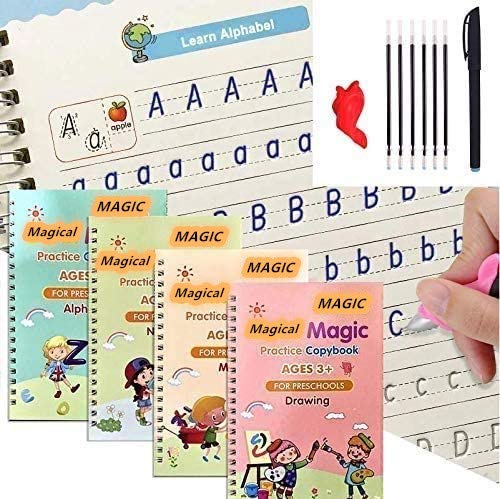 4 pcs English Magic Practice Copybook, Magic Calligraphy That Can Be Reused Handwriting Copybook Tracing Book Set for Homeschooling Writing Tool Child Kids (A)