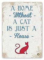 素朴な家猫ブリキ看板ヴィンテージ錫のサイン警告注意サインートポスター安全標識警告装飾金属安全サイン面白いの個性情報サイン金属板鉄の絵表示パネル