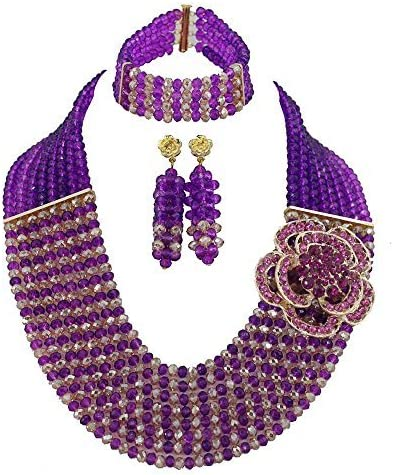 Africanbeads 8 Rows Purple Champagne Crystal Jewelry Set,Bride Jewelry Set,Wedding Beads Jewelry Set