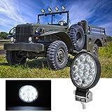 Foco Trabajo Tractor,KKmoon 3' Luz de trabajo Foco Lampara 160W 16000LM 6000K IP65 Impermeable Off-road Foco de Trabajo LED para Moto ATV SUV Tractor Camión Barco(14 LED)