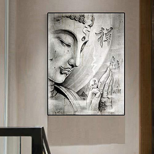 SADHAF zwart-wit-religieus Boeddha-beeld abstract geschilderd op canvas met Scandinavisch poster en wandschilderij woonkamerdecoratie 70X100cm (kein Rahmen) A6.