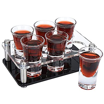 D&Z Shot Glass Server Holder with 6-Pack Shot Glasses, Acrylic Shot Glass Tray for Party, Bar, Vodka and Tequila
