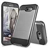 TJS Case for Samsung Galaxy J3 Emerge/J3 Prime/Amp Prime 2/Express Prime 2/Sol 2/J3 Mission/J3 Luna Pro/J3 Eclipse, Dual Layer Brushed Finish Hard Inner Layer Armor Phone Cover (Gray)