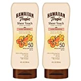 Hawaiian Tropic SPF 50 Broad Spectrum Sunscreen, Sheer Touch Moisturizing Protection Sunscreen Lotion, 8 Ounce, Pack of 2