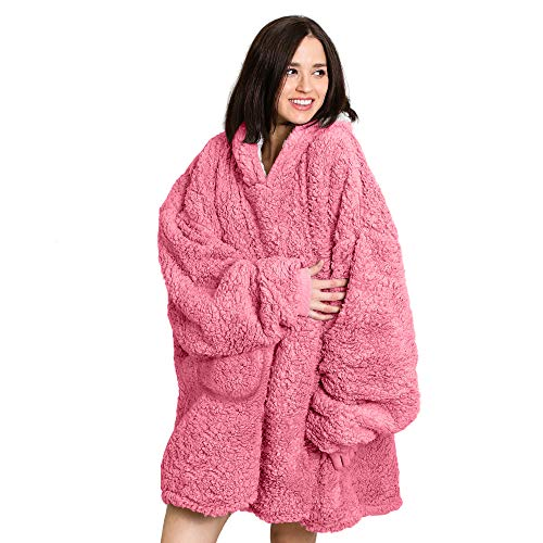 Roore Oversized Sherpa Wearable Blanket Hoodie | Super Soft Warm Reversible Hooded Sweatshirt Thick Plush Giant Pullover Fleece Sweater for Adult Men Women Teens Kids Pink