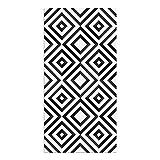 Alfombra Vinílica, Cuadriláteros, 80 x 40 x 0.2 cm, Color Negro y Blanco, ALV-029