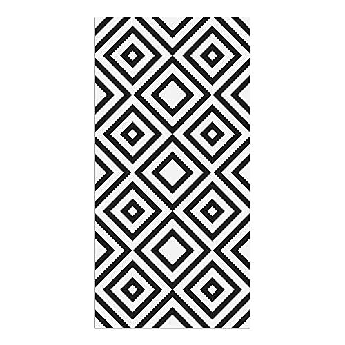 Alfombra Vinílica, 80 x 40 cm, Cuadriláteros, Color Negro, Fondo