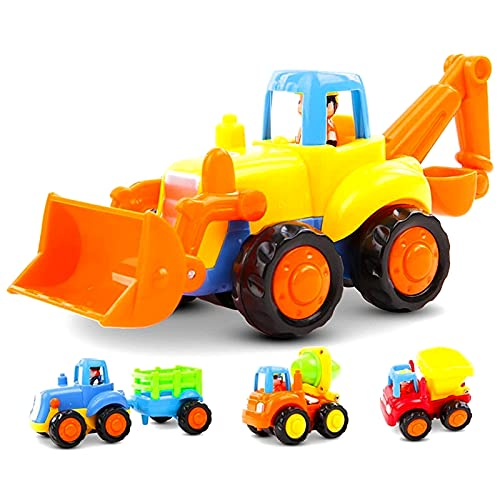 GoStock Friction Powered Cars Push and Go Toys for 1 2 3 Year Old Boys and Girls  4 Sets Construction Vehicles of Tractor  Bulldozer  Cement Mixer Truck  Dumper  Best Gifts for Your Kids and Toddlers