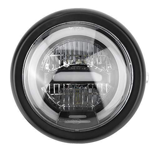 Lampe frontale à LED, lumière de moto, lampe frontale à LED de 6,5 pouces pour phare de moto vintage(Jaune)