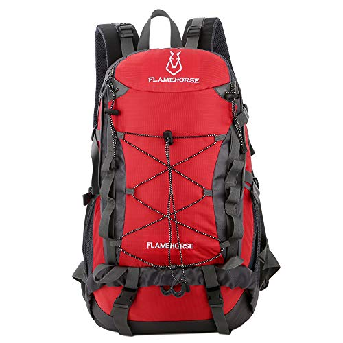 TOMSHOO 40L Water-resistant Hiking Backpack Outdoor Sport Camping Climbing Cycling Travel Backpack Daypack Bag for Men Women-Red