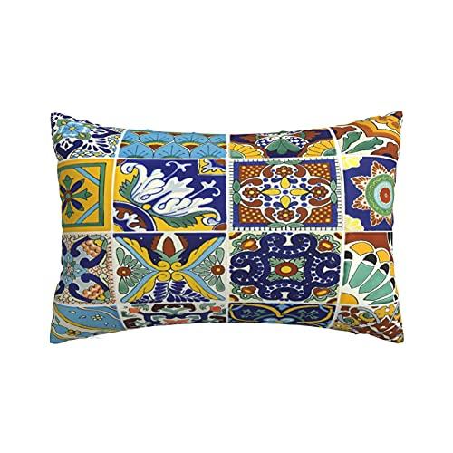 Fundas de Almohada Suaves y acogedoras, Arte de Azulejos Mexicanos, Fundas de Almohada con diseños delicados, 20 x 30