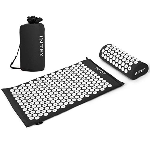 INTEY Acupressure Mat and Pillow Massage Set Ideal for Back/Neck Pain Relief & Muscle Relaxation, Sleep Aid with Carrying Bags