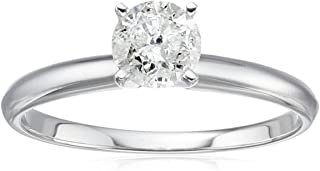 14k White Gold Round Solitaire Diamond Engagement Ring (3/4 cttw, H-I Color, I2-I3 Clarity), Size 7