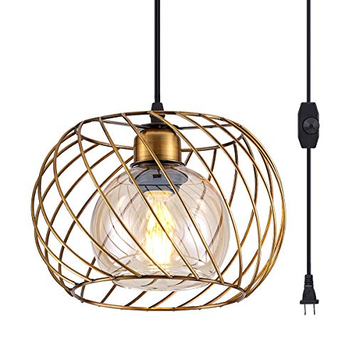 YLONG-ZS Hanging Lamps Swag Lights Plug in Pendant Light with On/Off Switch Wire Caged Hanging Pendant Lamp,Bronze Finish with Amber Glass Inner Shade