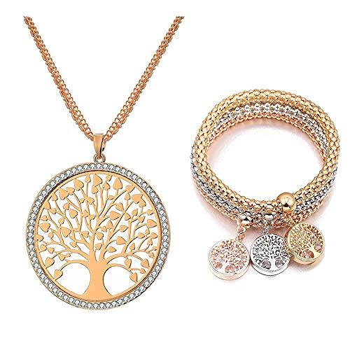 HMANE Conjunto de joyería Colgante de Moda para Mujer, Collar Largo, Pulsera de Cadena, Regalo de joyería de Cristal