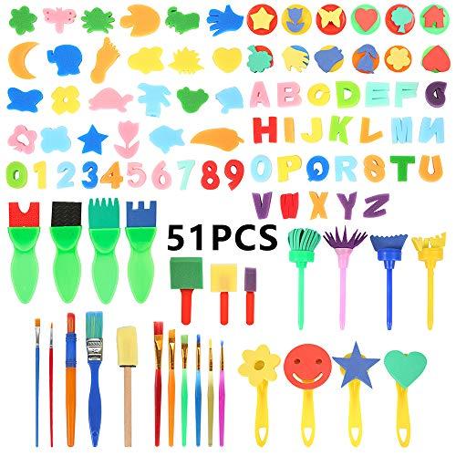 everso 51/52 Stück Kinder Schwamm Malerei Pinsel Set, Früherziehung Lernen Zeichnen Malwerkzeuge Zeichnung Werkzeuge Stempel mit wasserdichte Schürze (51)