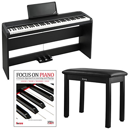 Korg B1SP 88 key Digital Piano Package with Natural Weighted Hammer Action 8 Sounds Built in Speakers Stand in Black with Piano Bench and Piano Books