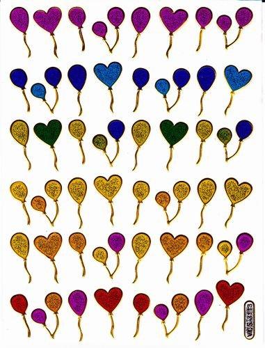 Luftballon Ballon bunt Aufkleber 48-teilig 1 Blatt 135 mm x 100 mm Sticker Basteln Kinder Party Metallic-Look