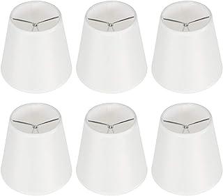Set van 6 kleine lampenkappen, stof witte lampenkap voor tafellampen vloerlampen kroonluchter clip op lampenkap, 3,5 x 5,5...