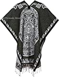 threads west Authentic Mexican Poncho Reversible Cobija Blanket - Aztec Calendar Olive and White (Square Design)