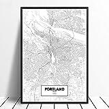 Leinwanddruck,Portland Usa Schwarz Weiß Benutzerdefinierte