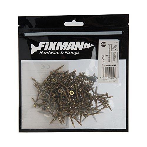 Fixman 378932 Verzinkte Spanplattenschrauben, 200er-Packung, Gold, 3.5 x 20 mm