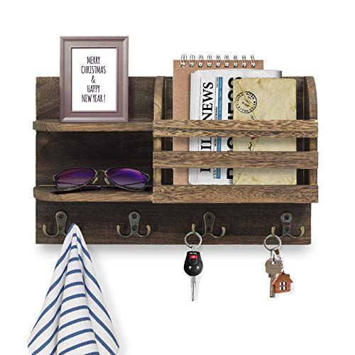 FOREVERL Wall Mount Mail Organizer with Shelf and Hooks, Wood Mail Holder and Sorter, Decorative Entryway Key Holder, Home Office Organizer Shelf