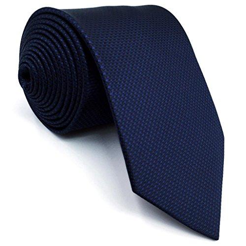Shlax&Wing Klassisch Herren Seide Neu Krawatte Blau Einfarbig Extra lang