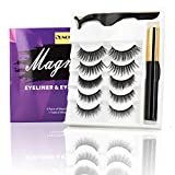 magnetic lashes, magnetic eyelashes with eyeliner 3d 8d false wispy eye lashes for woman no glue reusable 5 pairs with tweezer cheap makeup easy to wear
