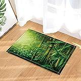 Kwboo Decoración de Tema de jardín, bambú Verde con alfombras de baño soleadas, Alfombrillas de Felpa Antideslizantes Entradas al Aire Libre Alfombra de Puerta Delantera Interior,