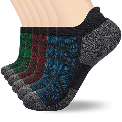 6 Pairs Ankle Socks for Men Women (Size 3-15) Invisible No Show Socks for Running Sports Trainer Athletic Cotton Low Cut Socks by Anqier (Blue*2 + Orange*2 + Green*2, M- (UK 6-8/ EU 39-42))