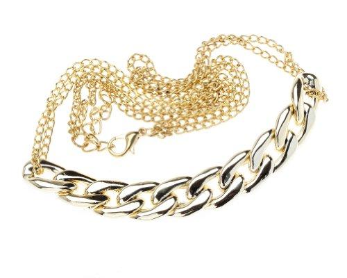 VAGA - Collar de cadena de oro con diseño de brillantes